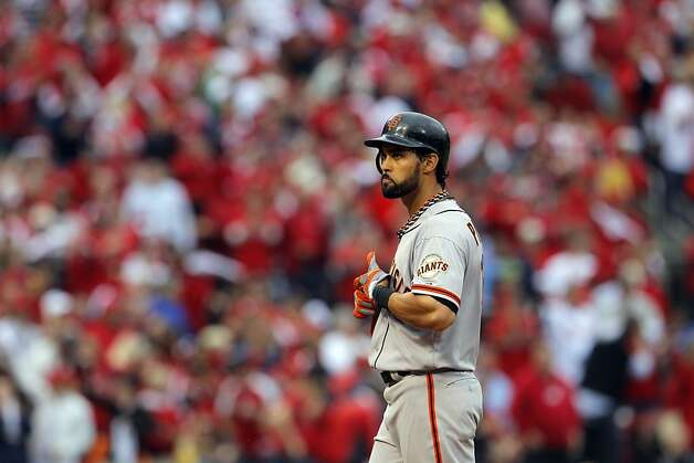 Angel Pagan reacts after grounding out with two men on base in the sixth inning. The San Francisco Giants played the St. Louis Cardinals in Game 3 of the National League Championship Series at Busch Stadium on Wednesday, October 17, 2012, in St. Louis, Mo. Photo: Carlos Avila Gonzalez, The Chronicle