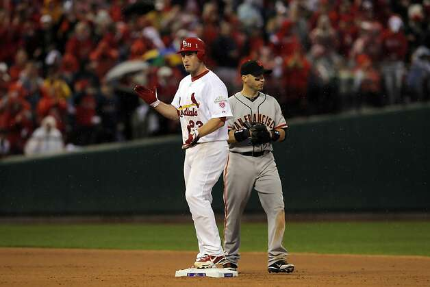 David Freese claps after reaching second safely on a lead off double in the seventh inning. Freese would later score in the inning. The San Francisco Giants played the St. Louis Cardinals in Game 3 of the National League Championship Series at Busch Stadium on Wednesday, October 17, 2012, in St. Louis, Mo. Photo: Carlos Avila Gonzalez, The Chronicle