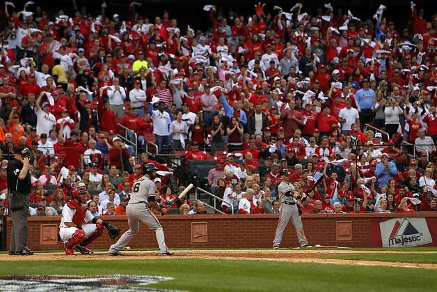 Angel Pagan bats in the sixth inning as the Cardinals fans wave their towels. The San Francisco Giants played the St. Louis Cardinals in Game 3 of the National League Championship Series at Busch Stadium on Wednesday, October 17, 2012, in St. Louis, Mo. Photo: Carlos Avila Gonzalez, The Chronicle