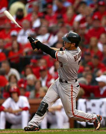 ST LOUIS, MO - OCTOBER 17:  Gregor Blanco #7 of the San Francisco Giants breaks his bat while at bat in the sixth inning against the St. Louis Cardinals in Game Three of the National League Championship Series at Busch Stadium on October 17, 2012 in St Louis, Missouri.  (Photo by Elsa/Getty Images) Photo: Elsa, Getty Images