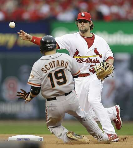 St. Louis Cardinals shortstop Pete Kozma (38) throws to first for a double play, taking San Francisco Giants' Marco Scutaro (19) out at second and Pablo Sandoval (48) out at first during the fourth inning of Game 3 of baseball's National League championship series Wednesday, Oct. 17, 2012, in St. Louis. (AP Photo/David J. Phillip) Photo: David J. Phillip, Associated Press