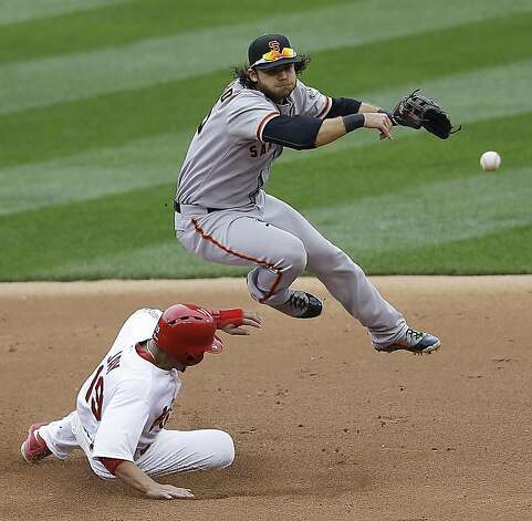 San Francisco Giants shortstop Brandon Crawford (35) throws to first base for a double play as St. Louis Cardinals' Jon Jay (19) slides to second and Carlos Beltran at first are out during the second inning of Game 3 of baseball's National League championship series Wednesday, Oct. 17, 2012, in St. Louis. (AP Photo/Patrick Semansky) Photo: Patrick Semansky, Associated Press