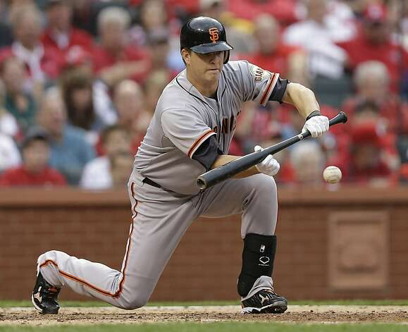 San Francisco Giants' Matt Cain (18) bunts the ball to advance Brandon Crawford to second base during the fourth inning of Game 3 of baseball's National League championship series against the St. Louis Cardinals, Wednesday, Oct. 17, 2012, in St. Louis. (AP Photo/David J. Phillip) Photo: David J. Phillip, Associated Press