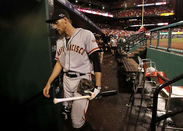 Giants' Hunter Pence walks to the clubhouse after  San Francisco lost to the St. Louis Cardinals 3-1 in game three of the National League Championship Series, on Wednesday Oct. 17, 2012, at Busch Stadium, in  St. Louis, Mo. Photo: Michael Macor, The Chronicle