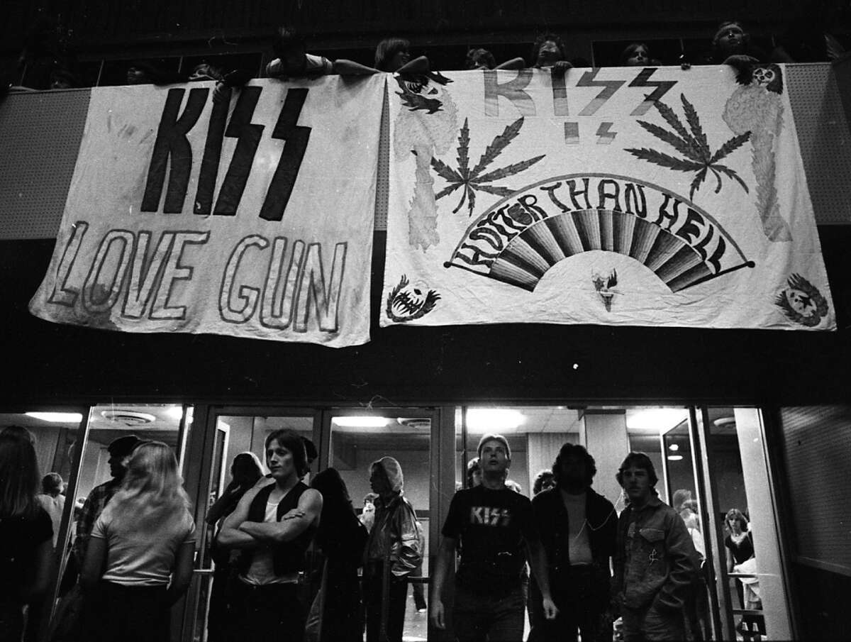 The entrance to the Cow Palace. Cheap Trick has just finished their set. I like the effort put into the bedsheet poster on the right, but question the marijuana leaves. Black Sabbath was more of a weed band. (Stephanie Maze / The Chronicle)