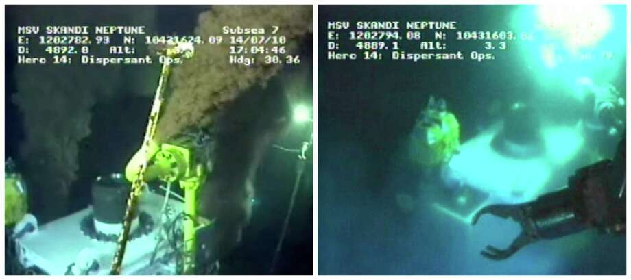This combo made from images taken from video provided by BP PLC shows oil flowing from two of three valves on the new 75-ton cap atop the site of the Deepwater Horizon oil spill in the Gulf of Mexico at 17:04 CDT Wednesday, July 14, 2010, left, and the top of the cap at 17:56 CDT on Thursday, July 15, minutes after the flow of oil was choked off. BP vice president Kent Wells said the oil stopped flowing into the water at 14:25 CDT after engineers gradually dialed back the amount of crude escaping through the last of three vents in the cap, an 18-foot-high metal stack of pipes and valves.(AP Photo/BP PLC) NO SALES Photo: AP / BP PLC