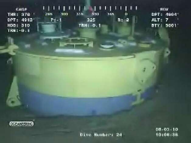 "This still image from a live BP video feed shows a view from a submersible while checking the integrity of the well head  on August 3, 2010 in the Gulf of Mexico.  BP prepared Tuesday to plug the worst oil leak in history, although the Gulf of Mexico region will be counting the environmental and economic costs for years, perhaps decades, to come. Already delayed by a week due to Tropical Storm Bonnie, the long-awaited ""static kill"" was put off again at the last-minute when a leak was discovered on Monday in the cap that has been sealing the runaway well since July 15. US spill chief Thad Allen said the leak had been stopped overnight and that the operation to ram in heavy drilling fluids, known as mud, would commence as soon as ""injectivity tests"" had given the procedure the all-clear. AFP PHOTO / BP == RESTRICTED TO EDITORIAL USE / NO SALES / NO MARKETING / NO ADVERTISING CAMPAIGN == (Photo credit should read HO/AFP/Getty Images)(Photo Credit should Read /AFP/Getty Images) Photo: HO, AFP/Getty Images / AFP"