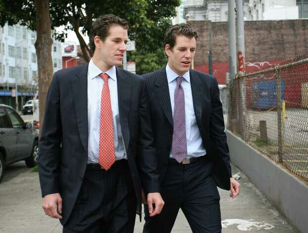 "Photo dated January 11, 2011 shows Tyler (R) and Cameron (L) Winklevoss, founders of social networking website ConnectU, leaving the US Court of Appeals for the Ninth Circuit in San Francisco after attending a court hearing in a lawsuit against Facebook Inc. and its founder Mark Zuckerberg on in San Francisco. A US appeals court ruled on April 11, 2011 that the Winklevoss twins can't back out of the settlement deal they made in a lawsuit charging that Zuckerberg stole their idea for Facebook. ""The Winklevosses are not the first parties bested by a competitor who then seek to gain through litigation what they were unable to achieve in the marketplace,"" the 9th US Circuit Court of Appeals said. ""At some point, litigation must come to an end,"" the judges said. ""That point has now been reached.""      (KIMIHIRO HOSHINO/AFP/Getty Images) Photo: KIMIHIRO HOSHINO / WINKLE AFP"