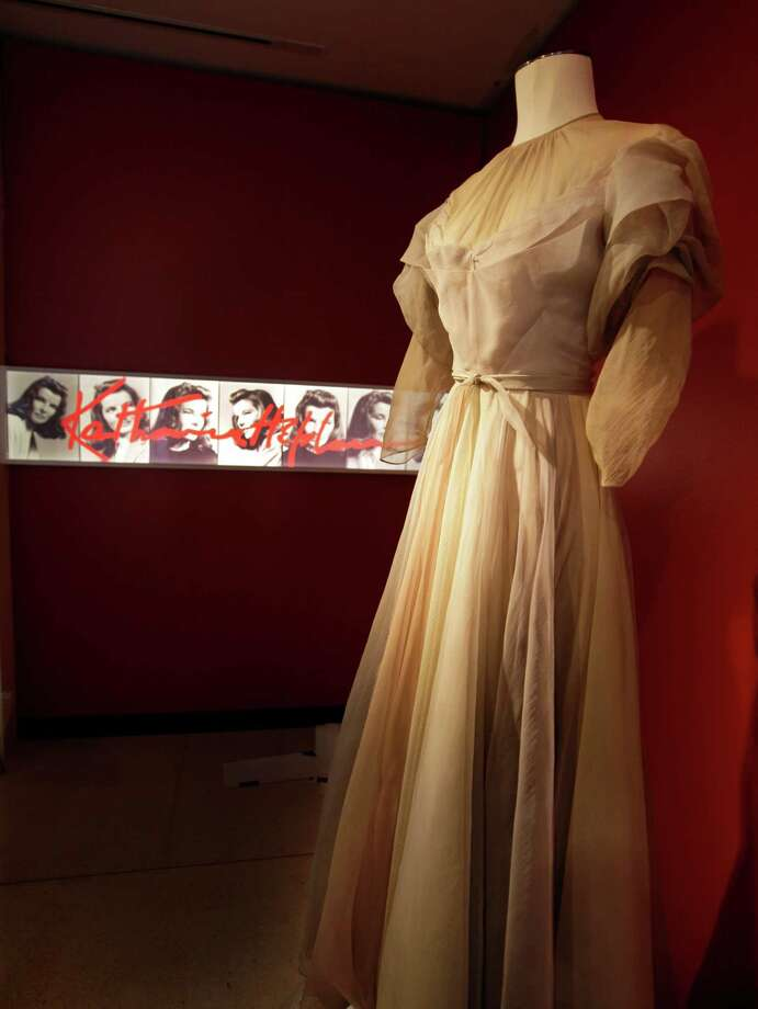 "A gown by Valentina, from the 1942 production of ""Without Love,"" is shown as part of the ""Katharine Hepburn: Dressed for Stage and Screen"" exhibit in the New York Public Library for the Performing Arts at Lincoln Center,  Tuesday, Oct. 16, 2012. Photo: Richard Drew, AP / AP"