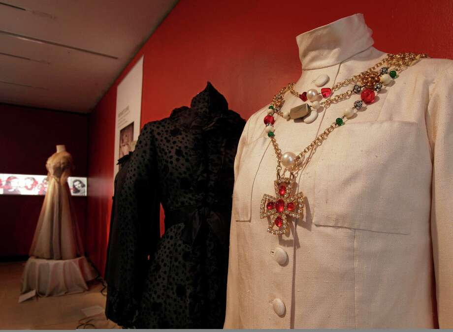 "A design by Chanel, from the 1976 production of ""Coco,"" is shown as part of the ""Katharine Hepburn: Dressed for Stage and Screen"" exhibit in the New York Public Library for the Performing Arts at Lincoln Center,  Tuesday, Oct. 16, 2012. Photo: Richard Drew, AP / AP"