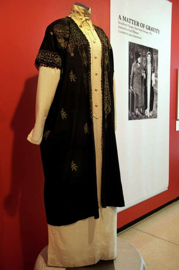 "A design by Jane Greenwood, from the 1976 production of ""A Matter of Gravity,"" is shown as part of the ""Katharine Hepburn: Dressed for Stage and Screen"" exhibit in the New York Public Library for the Performing Arts at Lincoln Center,  Tuesday, Oct. 16, 2012. Photo: Richard Drew, AP / AP"