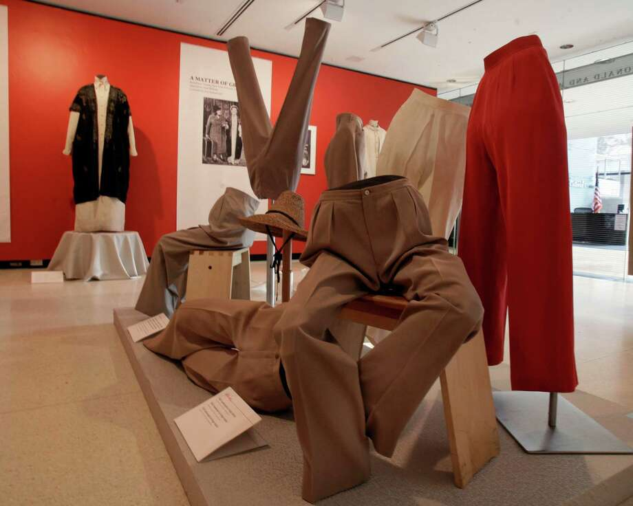 "A display of slacks and jodhpurs is shown as part of the ""Katharine Hepburn: Dressed for Stage and Screen"" exhibit in the New York Public Library for the Performing Arts at Lincoln Center,  Tuesday, Oct. 16, 2012. Photo: Richard Drew, AP / AP"