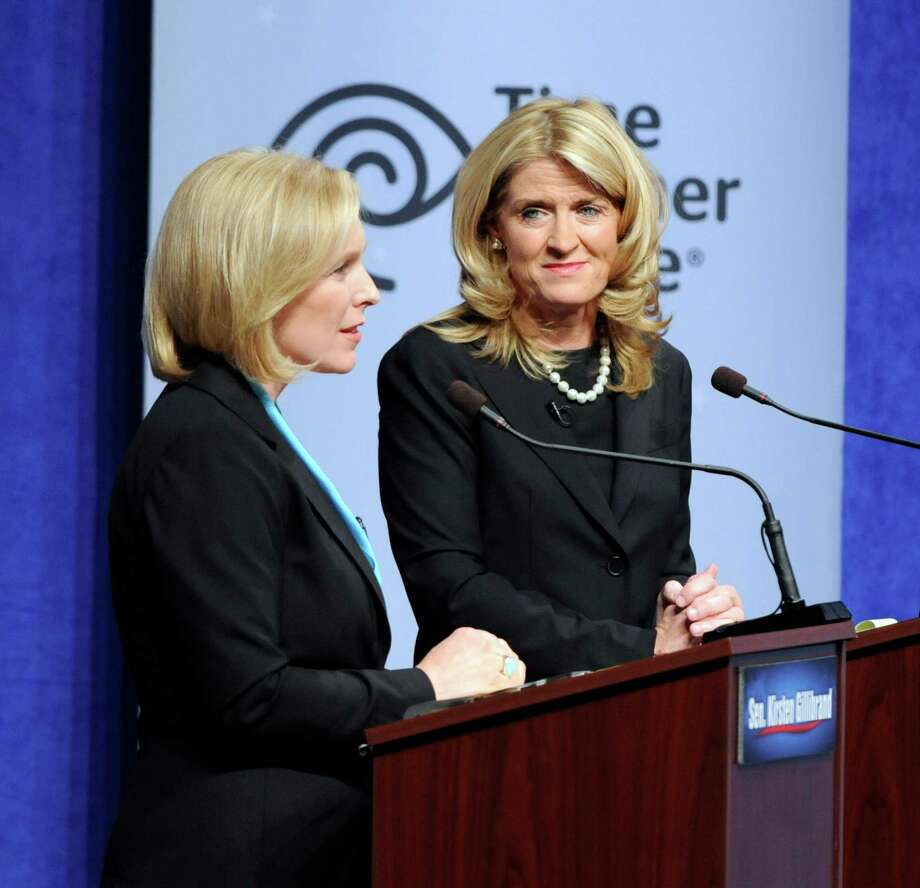 Sen. Kirsten Gillibrand, D-N.Y., and Republican challenger Wendy Long discuss abortion and women's rights during a debate at Skidmore College in Saratoga Springs, N.Y. on Wednesday, Oct. 17, 2012.   (AP Photo/Tim Roske, Pool) Photo: Tim Roske