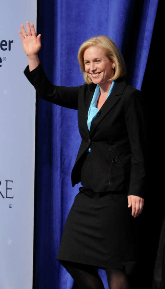 Sen. Kirsten Gillibrand, D-N.Y., walks on stage for a debate against Republican challenger Wendy Long at Skidmore College in Saratoga Springs, N.Y. on Wednesday, Oct. 17, 2012.   (AP Photo/Tim Roske, Pool) Photo: Tim Roske