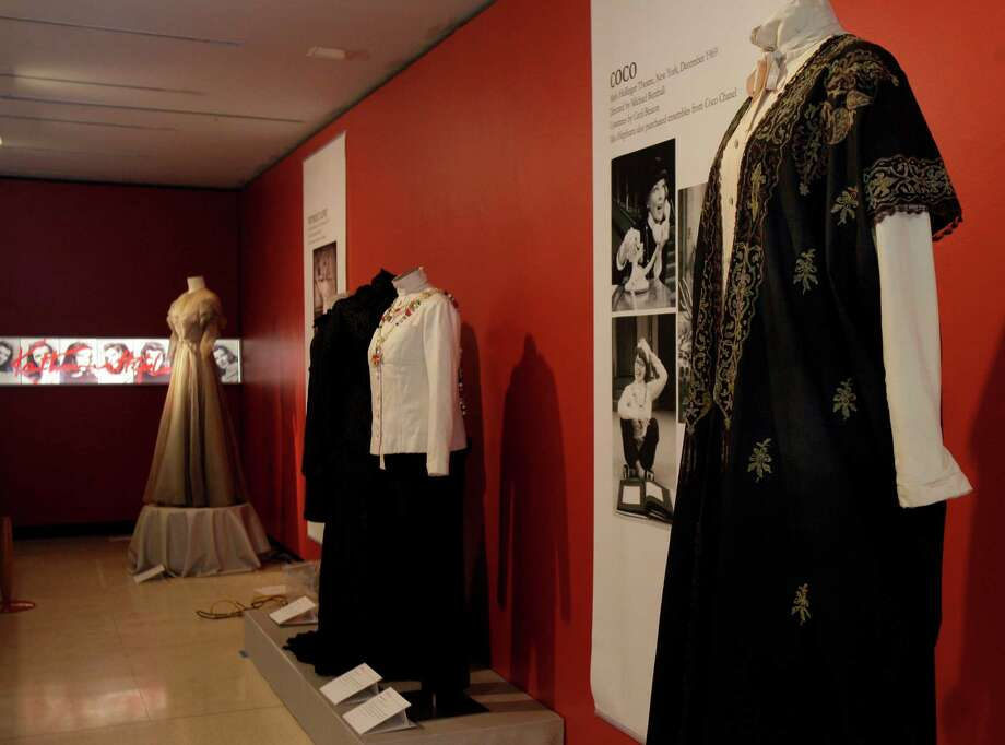 "A design by Jane Greenwood, right, from the 1976 production of ""A Matter of Gravity,"" is shown as part of the ""Katharine Hepburn: Dressed for Stage and Screen"" exhibit in the New York Public Library for the Performing Arts at Lincoln Center,  Tuesday, Oct. 16, 2012. Photo: Richard Drew, AP / AP"