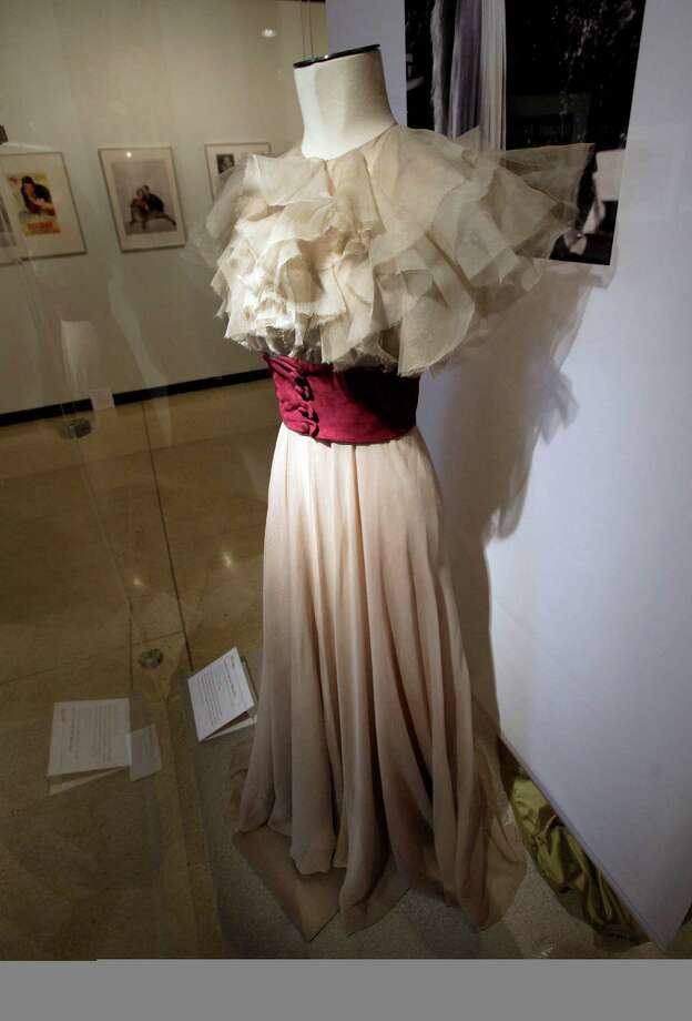 """A design by Muriel King, from the 1937 RKO movie  """"Stage Door,"""" is shown as part of the """"Katharine Hepburn: Dressed for Stage and Screen"""" exhibit in the New York Public Library for the Performing Arts at Lincoln Center,  Tuesday, Oct. 16, 2012. Photo: Richard Drew, AP / AP"""
