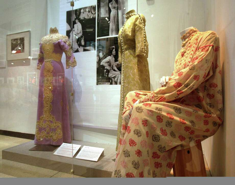 "Three designs by Motley, from the 1962 film ""Long Day's Journey Into Night,"" are shown as part of the ""Katharine Hepburn: Dressed for Stage and Screen"" exhibit in the New York Public Library for the Performing Arts at Lincoln Center,  Tuesday, Oct. 16, 2012. Photo: Richard Drew, AP / AP"