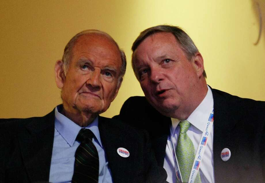 George McGovern  (D-SD) (L) and U.S. Sen. Dick Durbin sit together during day two of the Democratic National Convention at the Pepsi Center Aug. 26, 2008 in Denver.  Photo: Mark Wilson, Getty / 2008 Getty Images