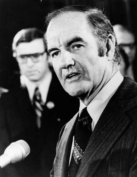 South Dakota Sen. George McGovern campaigns for president in 1972.