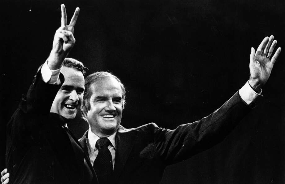 The Democratic Party presidential nominee Senator George McGovern (right) and his running mate Senator Thomas Eagleton during their campaign for election. Eagleton made American political history when he withdrew from the Democratic Party ticket after revelations about electric shock treatment he had received for bouts of mental illness. Photo: Anthony Korody, Getty / Hulton Archive