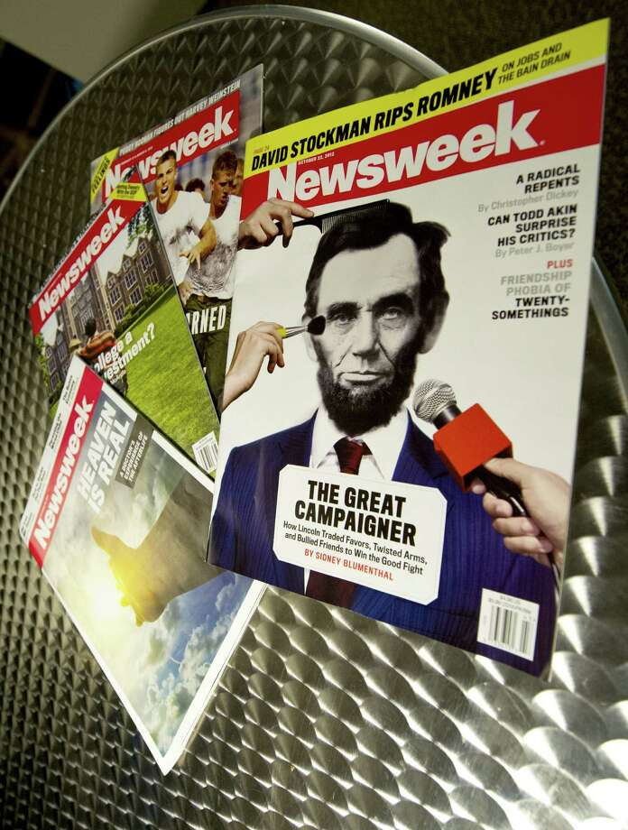 "This October 18, 2012 photo illustration shows copies of Newsweek magazine in Washington, DC. Newsweek announced Thursday it would end an 80-year run as a print magazine at the end of the year, taking the venerable publication all-digital to cope with a harsh media environment. ""We are transitioning Newsweek, not saying goodbye to it,"" wrote Tina Brown, editor-in-chief and founder of the online Newsweek Daily Beast Company, in a statement posted on the Daily Beast website. ""This decision is not about the quality of the brand or the journalism -- that is as powerful as ever. It is about the challenging economics of print publishing and distribution.""Newsweek, which had a fierce decades-long rivalry with Time magazine, has been losing money steadily. Brown acknowledged the merger of the print edition and the online Daily Beast operations, called ""Newsweek Global,"" would require layoffs.   AFP PHOTO / Karen BLEIERKAREN BLEIER/AFP/Getty Images Photo: KAREN BLEIER, AFP/Getty Images / AFP"