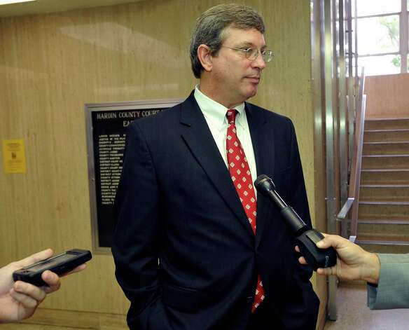 Attorney for the Kountze School District Thomas Brandt,  talks to the media.  Attorneys were back in the 356 District Court Thursday morning before Judge Steve Thomas. After hearing more arguments, Thomas stated he will make his ruling after lunch. The Kountze cheerleaders extended temporary restraining order expires Thursday, at midnight. Dave Ryan/The Enterprise