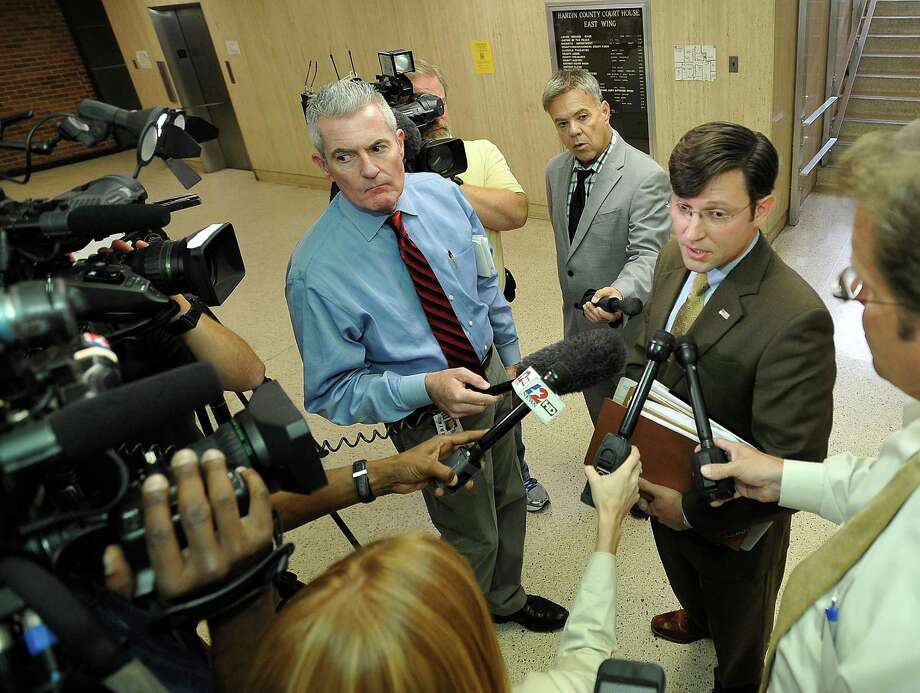 Senior Counsel for the Liberty Institute J. Michael Johnson, right, talks to the media Thursday, Oct. 18 before the hearing with Judge Steve Thomas.