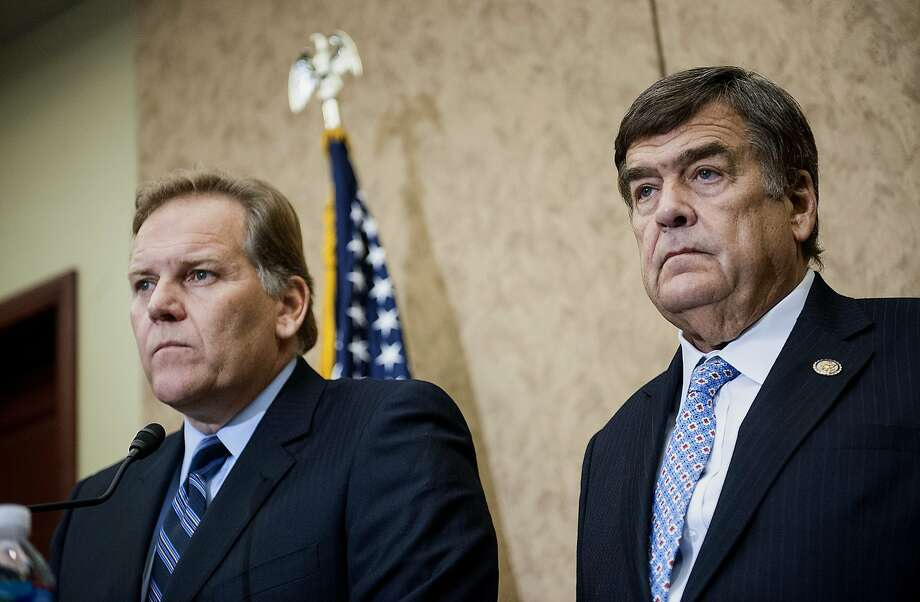 Representatives Mike Rogers, a Republican from Michigan, left, and Dutch Ruppersberger, a Democrat from Maryland, address the media during a news conference in Washington, D.C., U.S., on Monday, Oct. 8, 2012. U.S. companies should avoid business with Huawei Technologies Co., China's largest phone-equipment maker, to guard against intellectual-property theft and spying, Rogers said. Photographer: Jay Mallin/Bloomberg *** Local Caption *** Mike Rogers; Dutch Ruppersberger Photo: Jay Mallin, Bloomberg