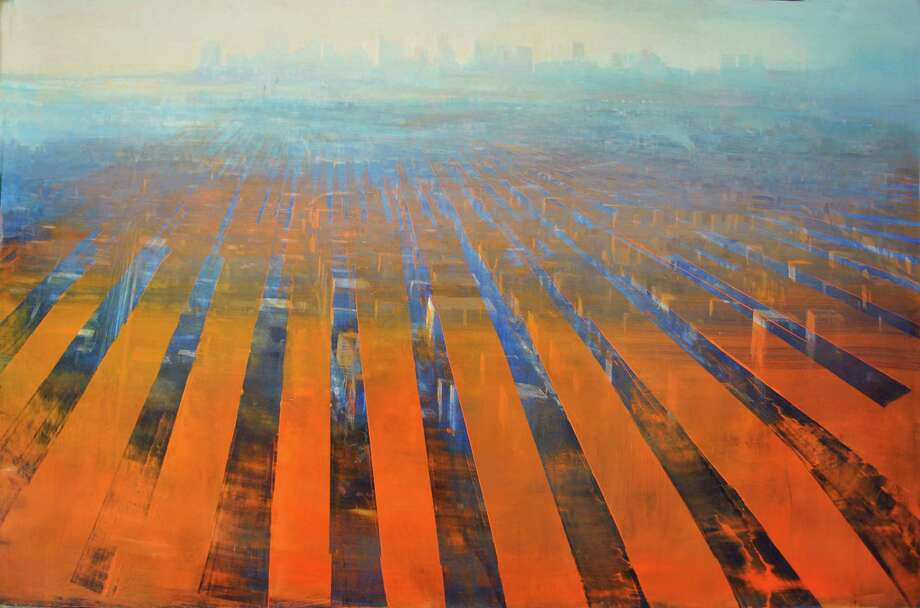 "An example of David Dunlop's work is ""NYC Perspective Matrix,"" an oil on anodized aluminum. He'll present a lecture on the history of art on Oct. 21 at Silvermine Arts Center in New Canaan. Photo: Contributed Photo"