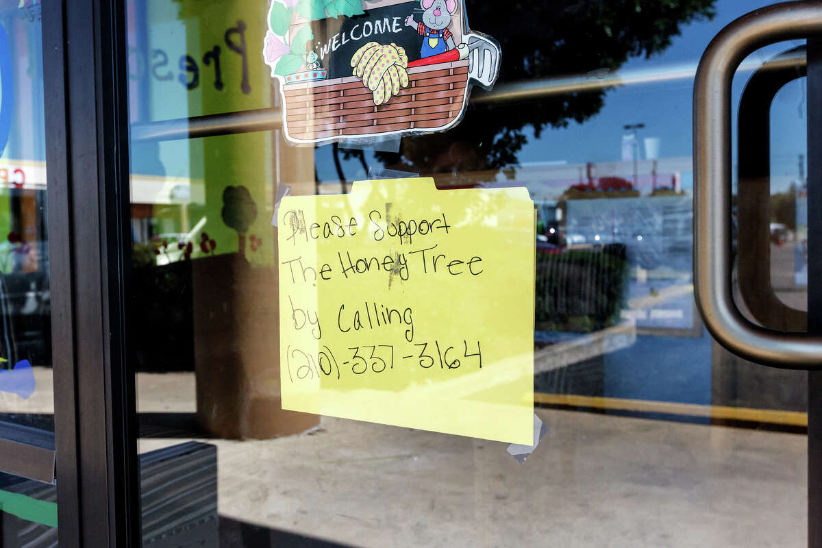 This sign taped to the front door seeks support for the Honey Tree Pre-school and Child Development Center on Culebra Road.