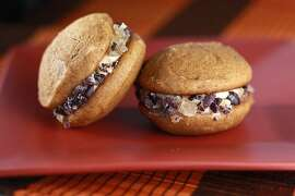 Pumpkin Carmel Whoopie Pies as seen in San Francisco, California on Wednesday, October 17, 2012. Food styled by Katie Fleming.