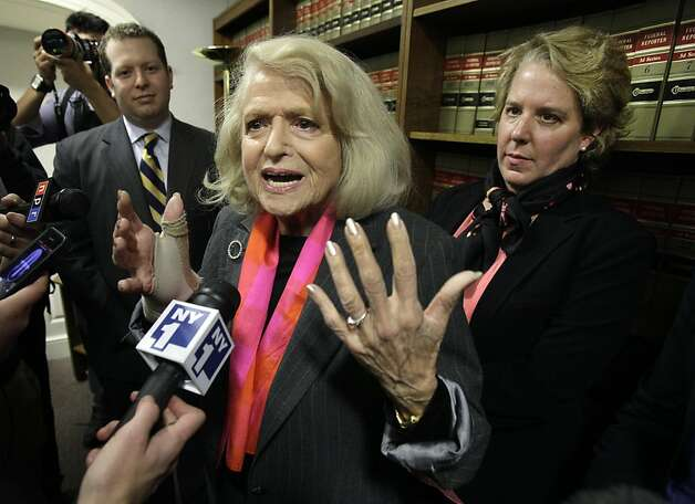 Edith Windsor (center) challenged federal estate taxes after her wife died. Photo: Richard Drew, Associated Press