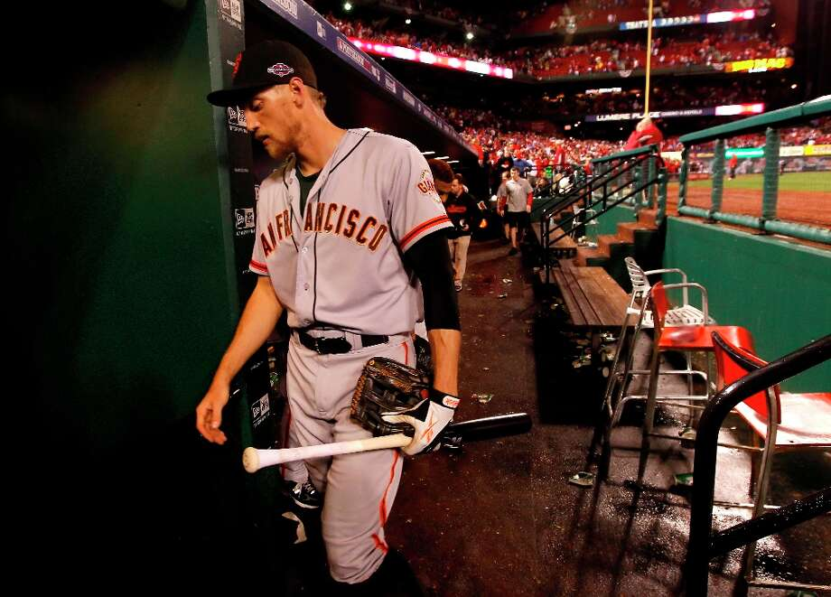 Giants' Hunter Pence walks to the clubhouse after  San Francisco lost to the St. Louis Cardinals 3-1 in game three of the National League Championship Series, on Wednesday Oct. 17, 2012, at Busch Stadium, in  St. Louis, Mo. Photo: Michael Macor, The Chronicle / ONLINE_YES