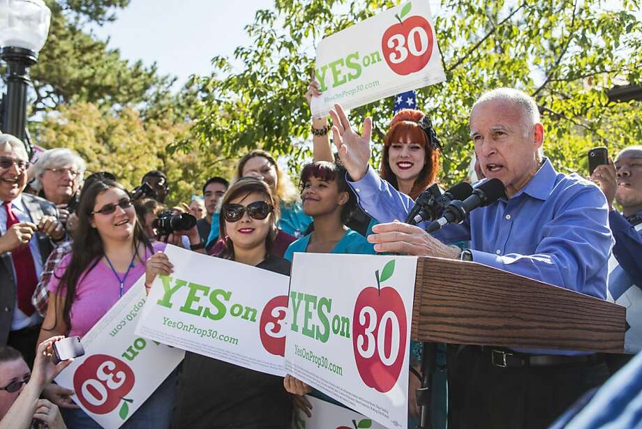 California Gov. Jerry Brown encourages students to vote for Prop 30 at a rally for his tax-raising Proposition 30, Sacramento City College, in Sacramento California, on Thursday October 18th 2012By Ken James/SPECIAL TO THE CHRONICLE Photo: Ken James, SFC