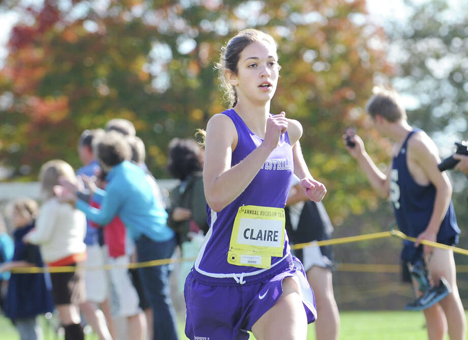 Claire Howlett of Westhill High School finishes second during the FCIAC girls high school cross country championship at Waveny Park in New Canaan, Thursday afternoon, Oct. 18, 2012. Photo: Bob Luckey / Greenwich Time