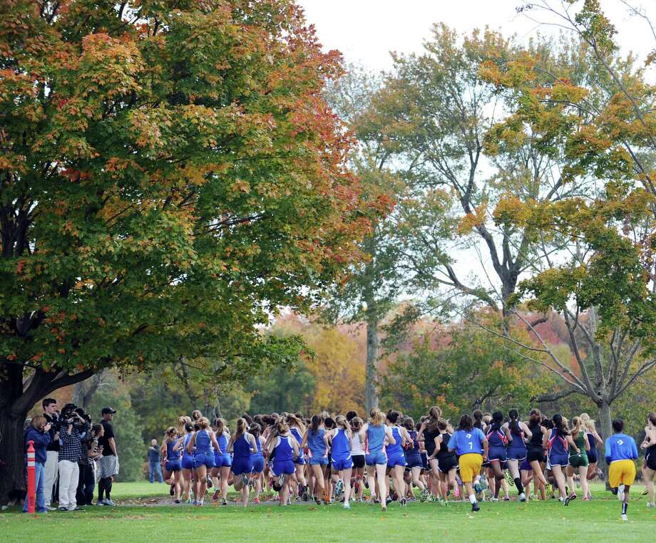 Scene from the FCIAC girls high school cross country championship at Waveny Park in New Canaan, Thursday afternoon, Oct. 18, 2012. Photo: Bob Luckey / Greenwich Time