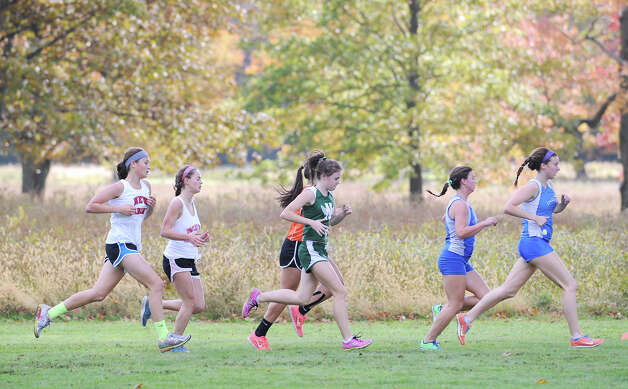 FCIAC girls high school cross country championship at Waveny Park in New Canaan, Thursday afternoon, Oct. 18, 2012. Photo: Bob Luckey / Greenwich Time