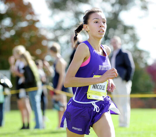 Nicole Ambrosecchio of Westhill High School finishes fifth during the FCIAC girls high school cross country championship at Waveny Park in New Canaan, Thursday afternoon, Oct. 18, 2012. Photo: Bob Luckey / Greenwich Time