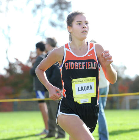 Laura Hergenrother of Ridgefield High School finishes sixth during the FCIAC girls high school cross country championship at Waveny Park in New Canaan, Thursday afternoon, Oct. 18, 2012. Photo: Bob Luckey / Greenwich Time