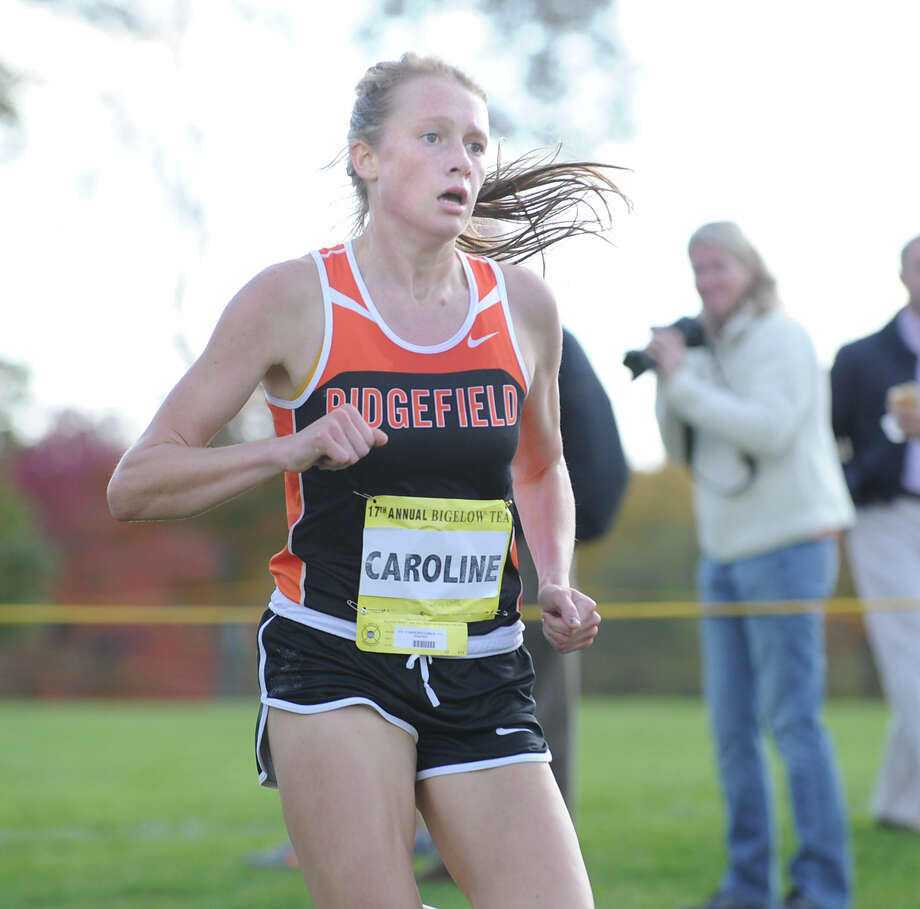 Caroline Carr of Ridgefield High School finishes eighth during the FCIAC girls high school cross country championship at Waveny Park in New Canaan, Thursday afternoon, Oct. 18, 2012. Photo: Bob Luckey / Greenwich Time