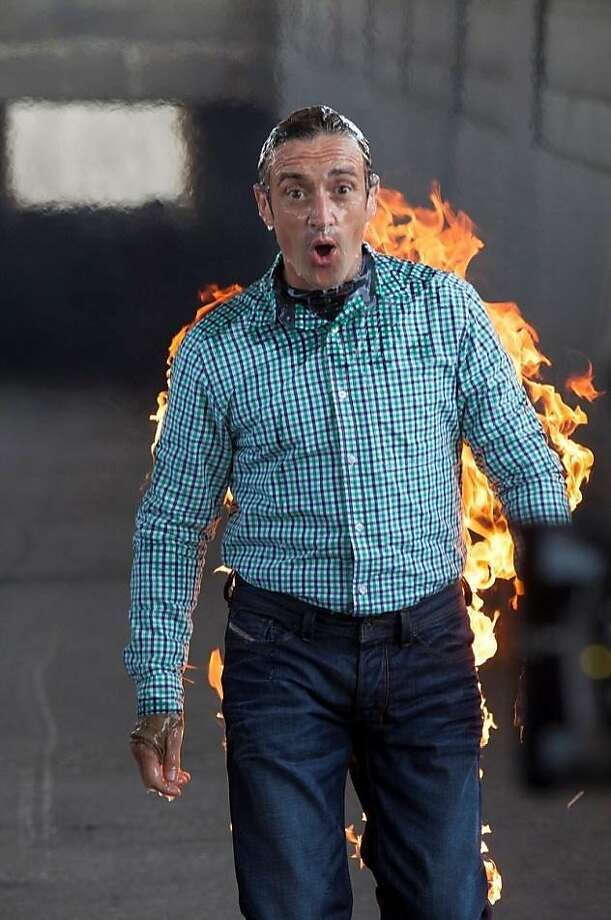 Smeared in layers of fire-retardant goo, Richard Hammond ignites viewer interest, along with himself. Photo: BBC America