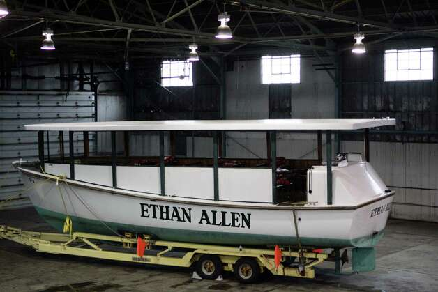 The tour boat Ethan Allen sits in a hangar at the Warren County Airport in Glens Falls, N.Y., on Wednesday, Oct. 5, 2005. (AP Photo/The Detroit News, Elizabeth Conley, Pool) Photo: ELIZABETH CONLEY / POOL