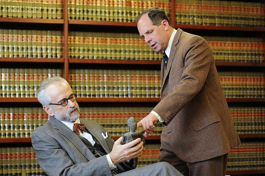 "Sigmund Freud (J. Michael Flynn, left) discusses one of his many religious artifacts with C.S. Lewis (Benjamin Evett) in ""Freud's Last Session"" at San Jose Repertory Theatre Photo: Kevinberne.com"