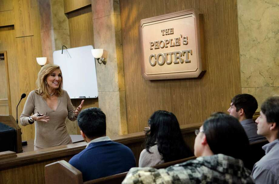 People's Court Judge Marilyn Milian speaks to the audience after a studio taping of the show The People's Court in Stamford on Thursday, Oct. 18, 2012. Photo: Amy Mortensen / Connecticut Post Freelance