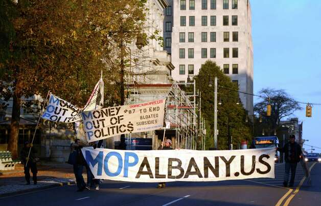 MOP Albany demonstrators set up on the stairs of the Court of Appeals building in Albany, N.Y. Oct 18, 2012.   (Skip Dickstein/Times Union) Photo: Skip Dickstein / 00019725A