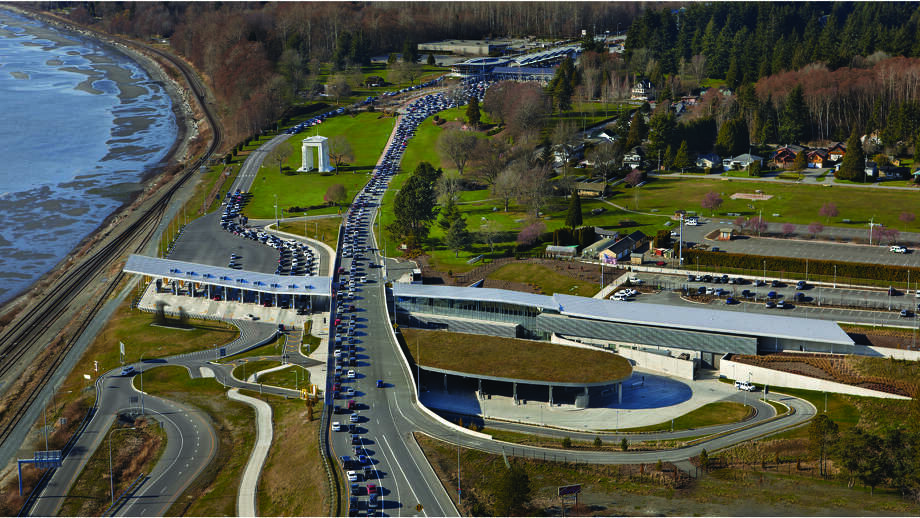 Next up are the Merit Award winners, starting with the new Peace Arch U.S. Border Crossing, in Blaine. Photo: Courtesy American Institute Of Architects Northwest And Pacific Region/Bohlin Cywinski Jackson