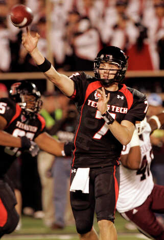 Texas Tech quarterback Seth Doege throws in the fourth quarter of an NCAA college football game against Texas A&M in Lubbock, Texas, Saturday, Oct. 24, 2009. Doege came off the bench to replace the starter Taylor Potts. Texas A&M won 52 - 30. (AP Photo/Mike Fuentes) Photo: Mike Fuentes, Associated Press / FR103746 AP