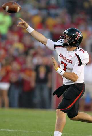 Texas Tech quarterback Seth Doege throws a pass during the first half of an NCAA college football game against Iowa State, Saturday, Sept. 29, 2012, in Ames, Iowa. (AP Photo/Justin Hayworth) Photo: Justin Hayworth, Associated Press / FR170760 AP