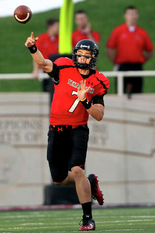 Texas Tech's Seth Doege throws a pass against New Mexico during their NCAA college football game in Lubbock, Texas, Saturday, Sept. 15, 2012. (AP Photo/The Avalanche-Journal, Stephen Spillman) ALL LOCAL TV OUT Photo: Stephen Spillman, Associated Press / Lubbock Avalanche-Journal