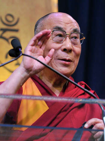 """The Dalai Lama speaks to a crowd at the O'Neill Center on Western Connecticut State University's west side campus during his """"The Art of Compassion"""" speech in Danbury on Thursday, Oct. 18, 2012. Photo: Jason Rearick / The News-Times"""